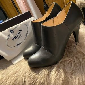 Authentic Prada Leather Ankle Boots With Box